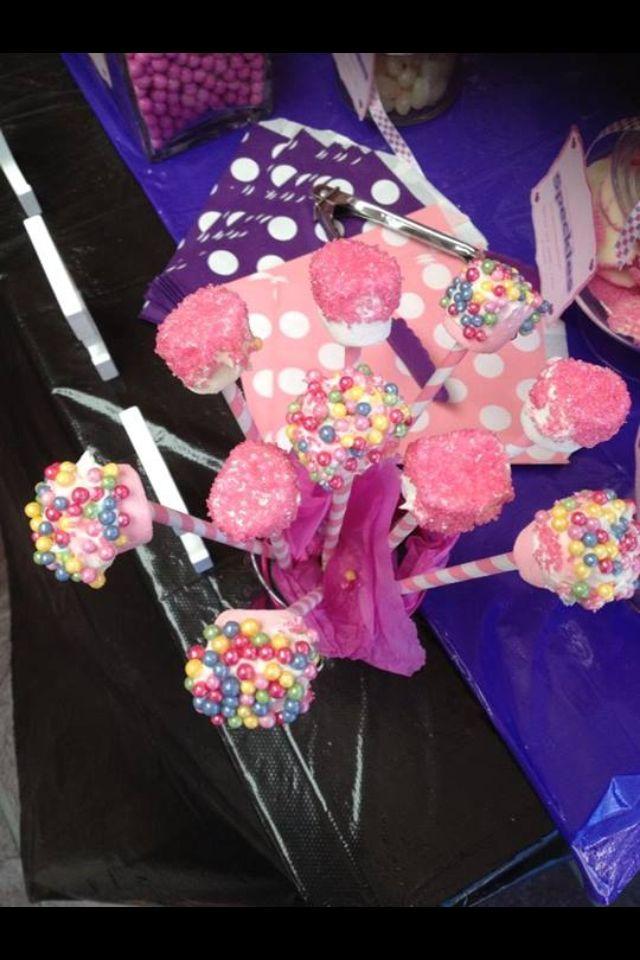 Pink purple baby shower candy buffet