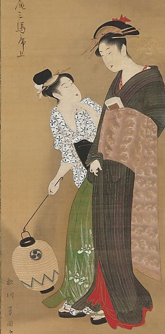 "Main detail of hanging scroll painting named ""Woman and Attendant"" by artist Utagawa Toyokuni I.  Circa 1795, Japan.  MET Museum. (The Howard Mansfield Collection, Purchase, Rogers Fund, 1936)"