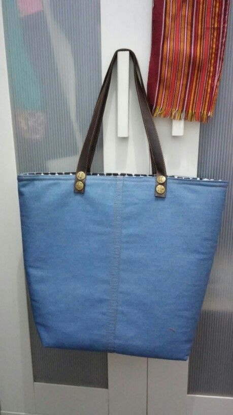 Tote bag, denim and leather