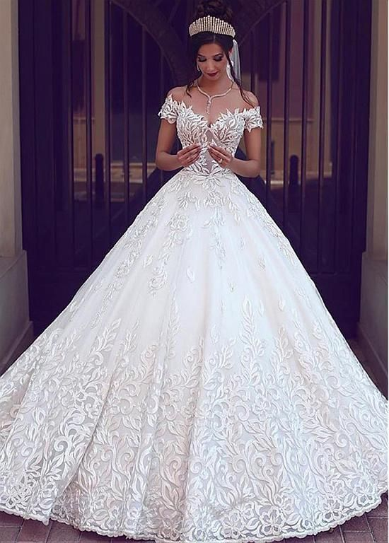 Tulle Off-the-shoulder Lace Appliques A-line Wedding Dress