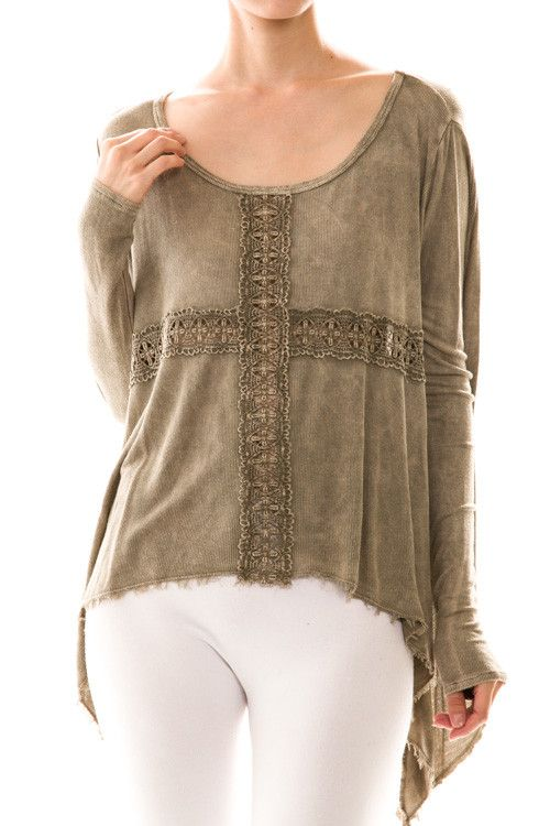 Crochet Trim Knit Taupe Top | Cactus Creek