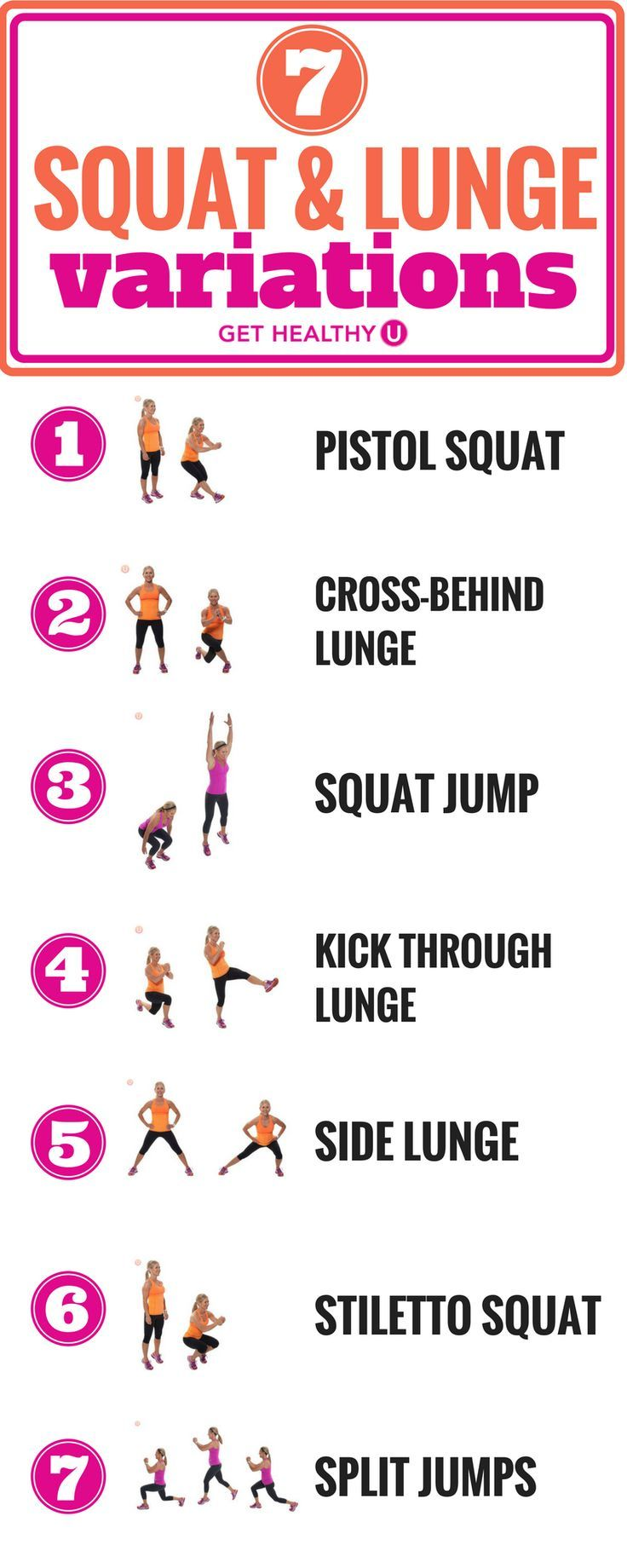 Squats and lunges are some of the best bodyweight exercises around. We've pulled out 7 of the best squat and lunge variations that will build muscle and tone up those legs! Not only are these moves super effective, they also allow you to switch up your lower-body workout routine from just standard lunges and squats, preventing the inevitable boredom that comes from any workout routine.