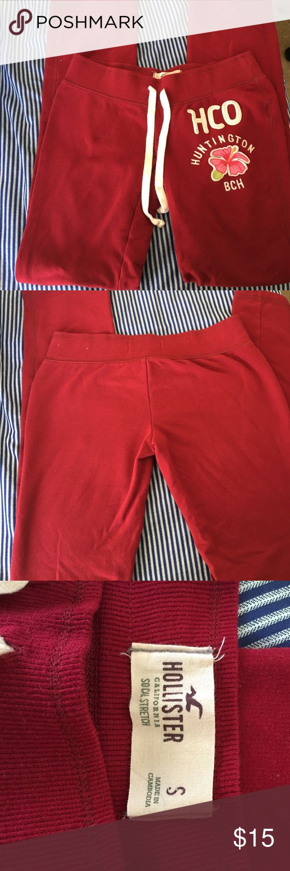Hollister Bundle Small Med Good condition Hollister deep red Joggers. Size small juniors, one small flaw which is pictured. No holes or other stains. Also Hollister navy blue medium sized hoodie, slightly faded but no holes or stains. Hollister Pants Track Pants & Joggers