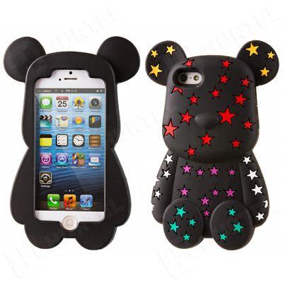 Etui, pokrowce, futerały Etui nakładki Etui nakładki 3D | Gumowe etui na iPhone 5S 5 miś w gwiazdki czarne | EKLIK - Sklep GSM, Akcesoria na tablet i telefon