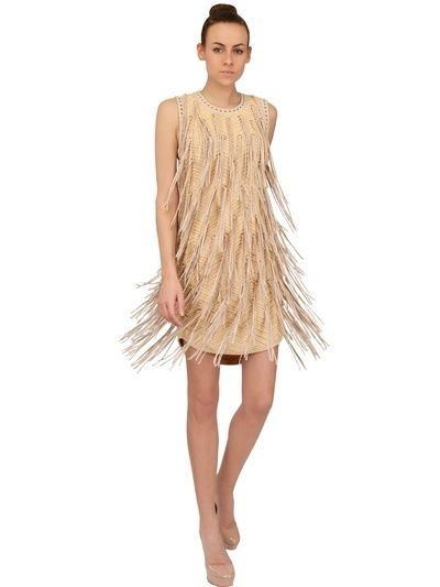 Salvatore Ferragamo, Leather Fringe Cotton Dress, $3,405, Luisaviaroma.com