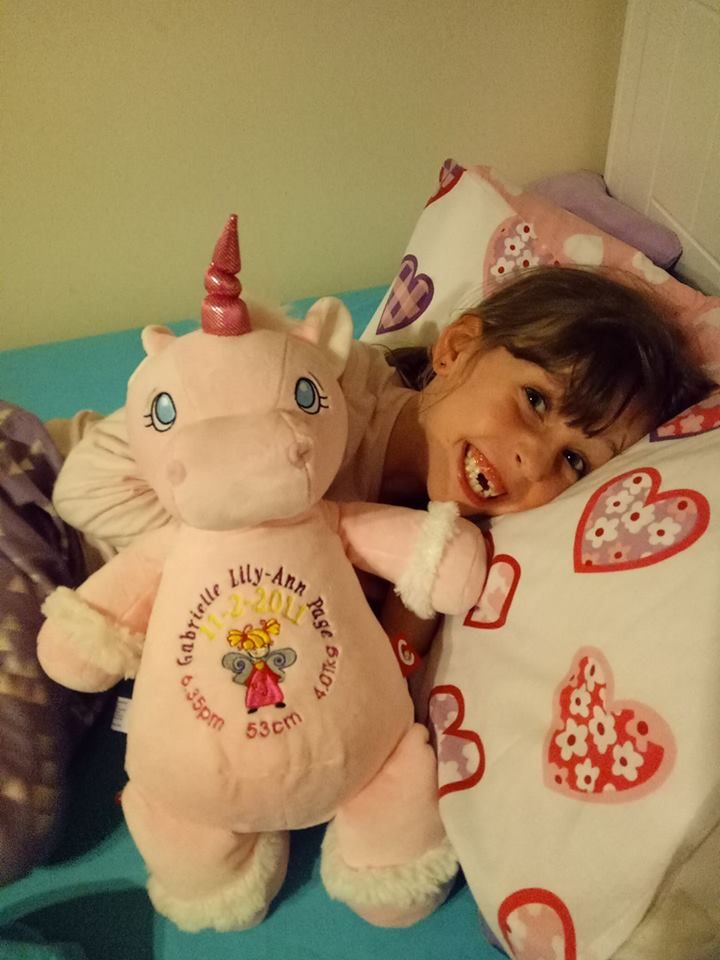 One great way to keep your little one company in bed http://teddybearsandgifts.com.au/personalised-hug-me-cubby-unicorn-white-birth-design/