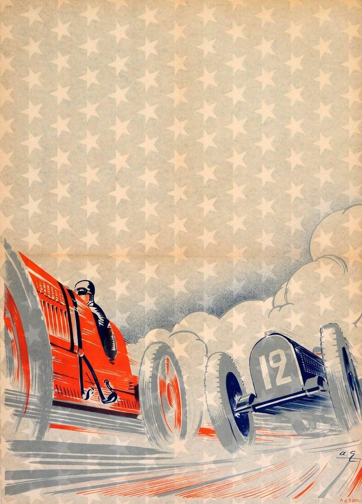 Unknown – Rare Early Original Art Deco Car Racing Poster Featuring A Classic Car Race