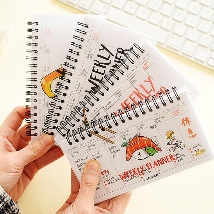 1 X novelty cartoon spiral weekly planner schedule PVC cover planner notebook agenda organizador stationery 50 pages