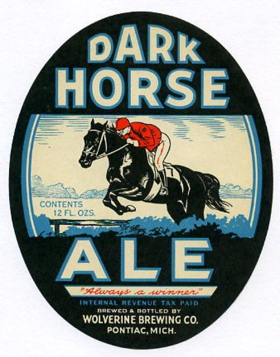 Vintage Beer label... Dark Horse Ale