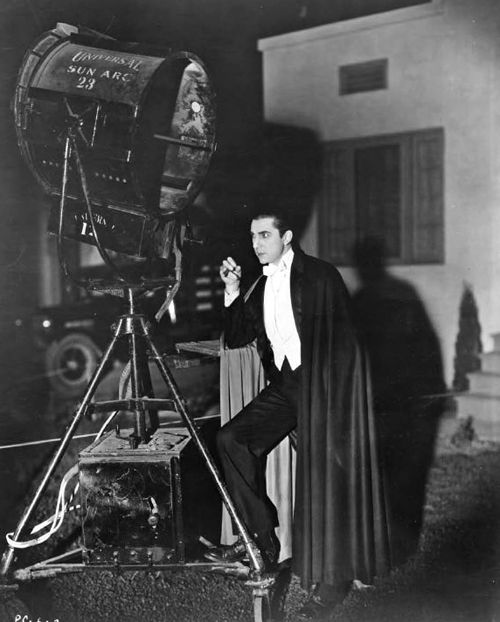 Bela Lugosi, Dracula (1931). On set, taking a smoke break.