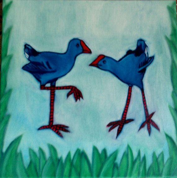 Print of original painting Two little Pukekos  6 x by KiwiArtHouse