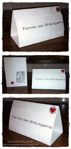 Tischkarten, Menü-Karten zur Hochzeit