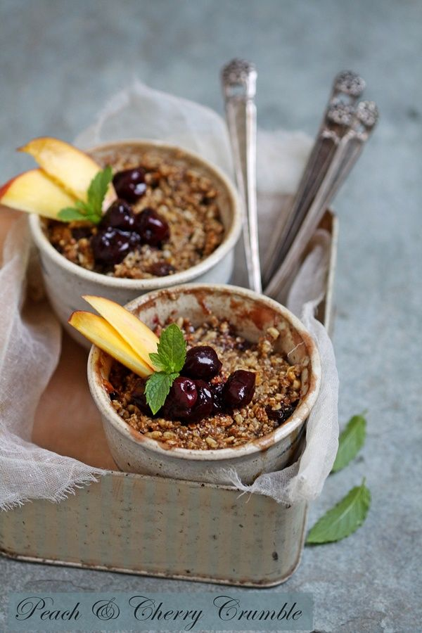 Peach and Cherry Granola Crumble served in metal box