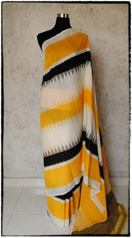 s46 Telia Rumal Hand Woven Ikat Sari