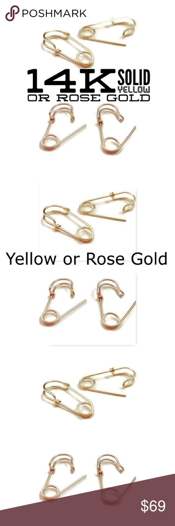 """❗️sale❗️14k Rose/Yellow Gold Safety Pin Earrings A pair of Harley quinn inspired solid 14k yellow or rose gold safety pin earrings. Hallmarked 14k. Available in lengths of either 3/4"""" or 1"""". nejd Jewelry Earrings"""