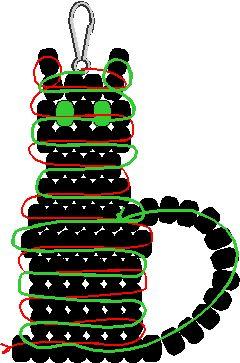 Black Cat Pony Bead Pattern: Interesting tail idea here!