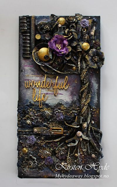 It's a wonderful life - Mixed Media Canvas created by Kirsten Hyde. This is created with sewing machine parts, lace and flowers from Prima and Wild Orchid craft.