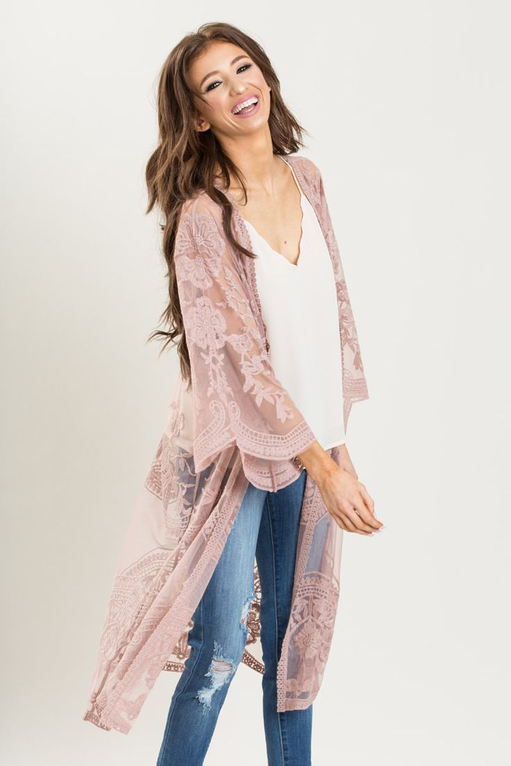 Karina Dusty Rose Lace Kimono - Morning Lavender
