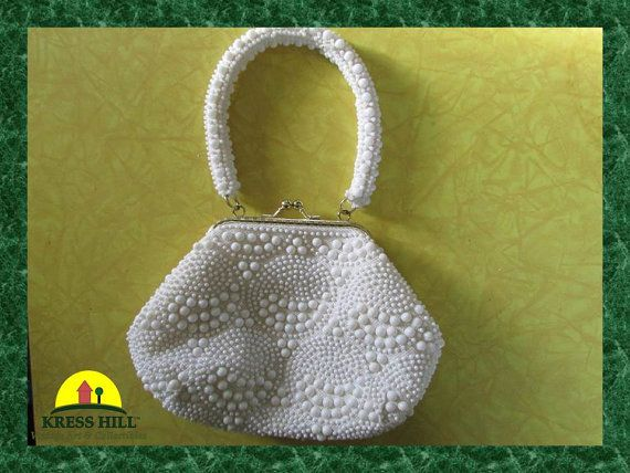 Vintage White Beaded Purse Made in Hong Kong by KressHillVintage, $25.00