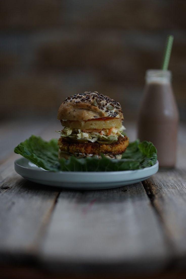 Tropical Vege Burger on a gluten free bun