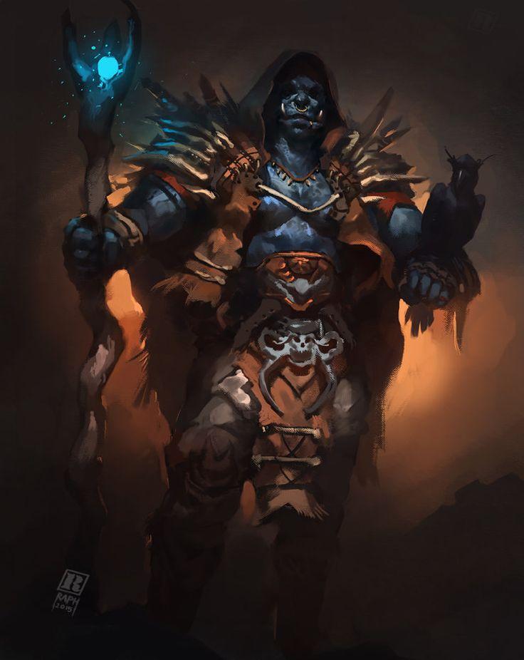 Orc Mage, Raph Lomotan on ArtStation at https://www.artstation.com/artwork/orc-mage Orc Mage /Shaman painting demo https://www.youtube.com/watch?v=YtpJKVex-x4#t=63