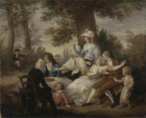 Charles Reuben Ryley, 1752–1798, British, 'The Vicar of Wakefield,' Vol. I, Chap. VIII: Dining in the Hayfields' (Surprised by Mr. Thornhill's Chaplain), 1786, Oil on canvas, Yale Center for British Art, Paul Mellon Collection