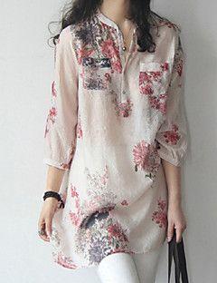 Mujer Simple / Chic de Calle Noche / Tallas Grandes Blusa,Escote Chino Floral 3/4 Manga Algodón Azul / Rojo Fino – EUR € 6.85