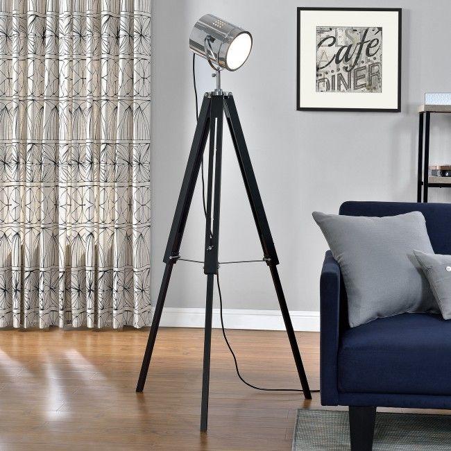 [lux.pro] Lámpara de pie con foco de cine para decoración vintage - E27 - cromo-diseño industrial - 67,00 €