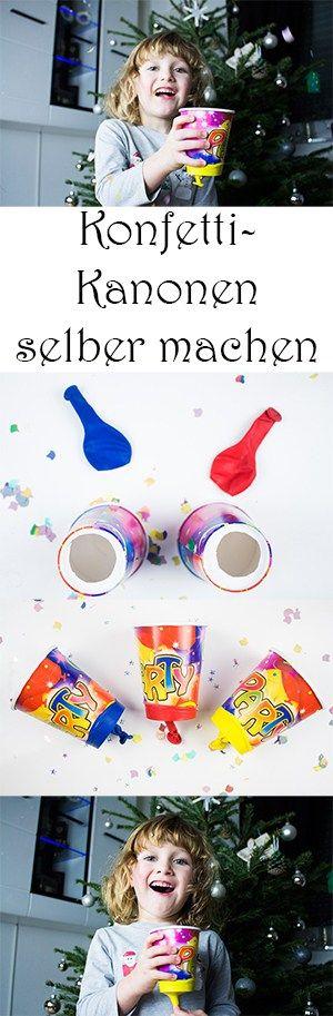 Silvester mit Kindern feiern - DIY Konfetti-Kanonen aus Pappbechern selber machen - Silvester basteln