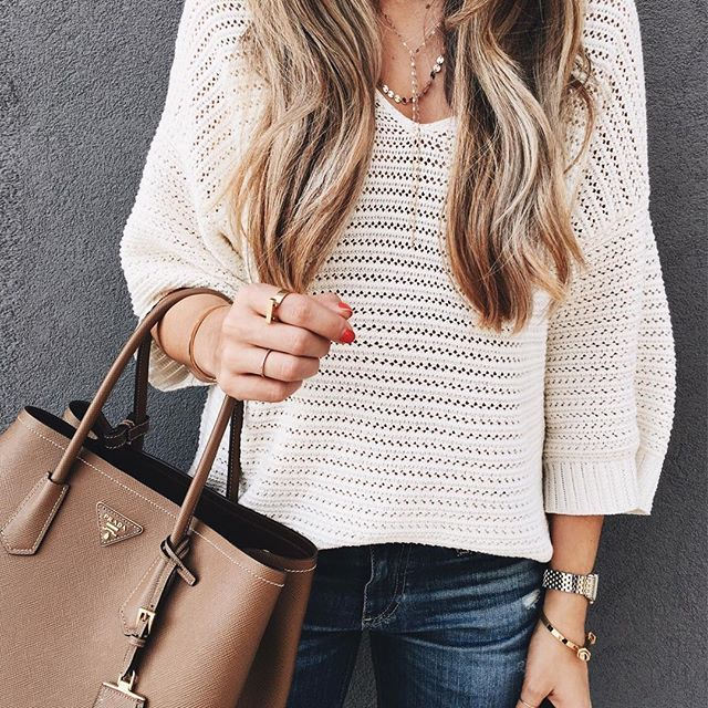 Summer knit sweater and jeans. Summer/Spring Casual Friday Office Outfit