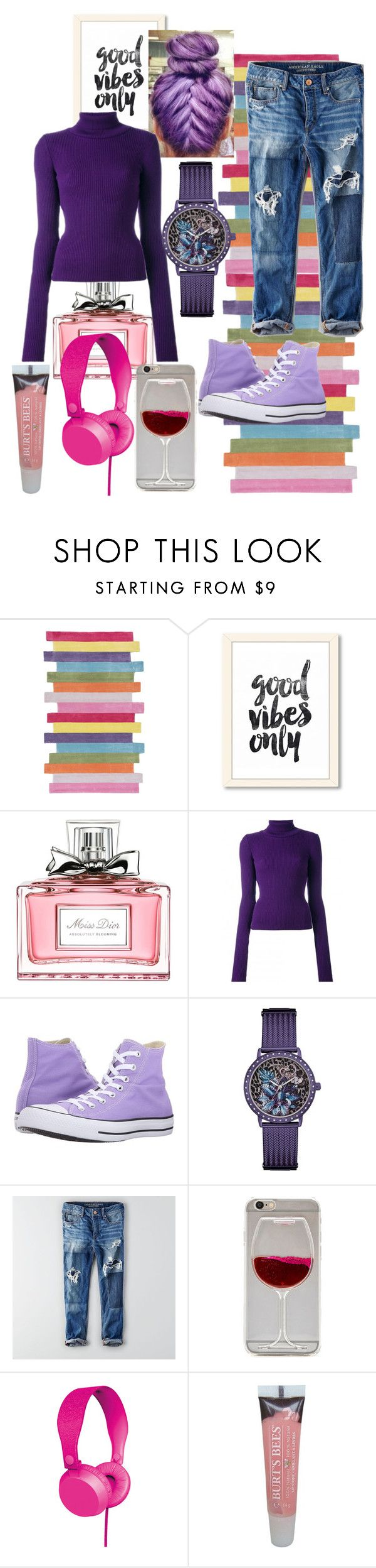 good vibes by lamoda on Polyvore featuring Jacquemus, American Eagle Outfitters, Converse, GUESS, Burt's Bees, Christian Dior and nuLOOM