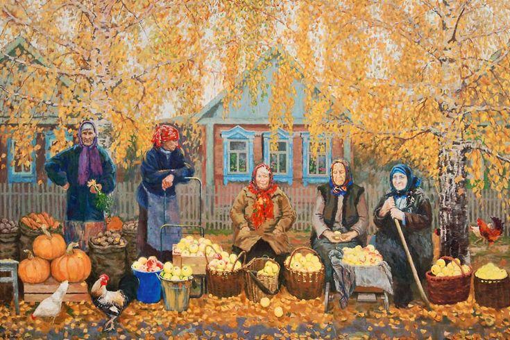 Vladimir Yanaki. A generous #autumn #2000s #painting #artwork #postsoviet #babushka #market #granny
