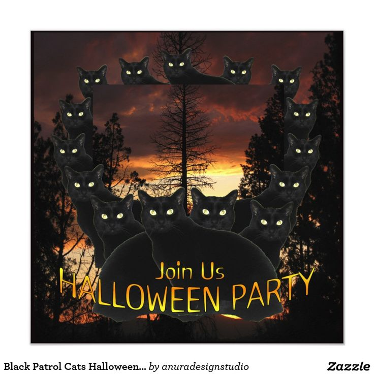410 best halloween invitations and cards from zazzlers images on black patrol cats halloween party invitations stopboris Gallery