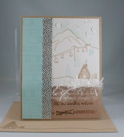 When putting together my wish list for the Holidays catalogue, I went back and forth on Mountain Adventure. It's the most adorable stamp set, but I wasn't sure how many different looks I could get out