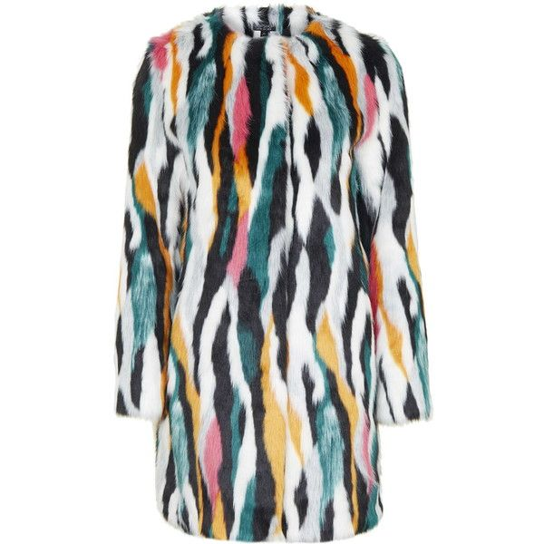 TOPSHOP Multi-Coloured Faux Fur Coat (€155) ❤ liked on Polyvore featuring outerwear, coats, multi, topshop, colorful coat, fake fur coats, topshop coat and waterfall coat