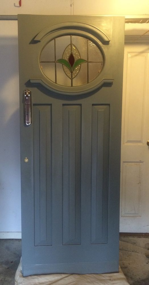 Genuine 1930s Front Door with Original Stained Glass & Letterbox H203 x W80.5cm