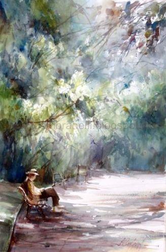 La Lecture au Jardin des Tuileries, painting by artist Fabio Cembranelli