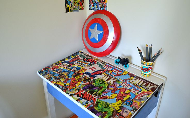 Old school desk makeover - superhero style