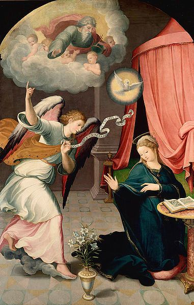Anunciación (1559) de Correa de Vivar. Óleo sobre tabla. 225 x 146 cm. Museo del Prado (Madrid, España)