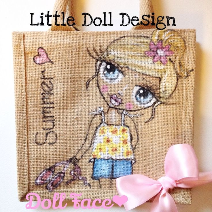 hand painted jute dolly bag small, Personalised Jute Bag,school,Lunch Gift Bag, by BelleArtisanUK on Etsy