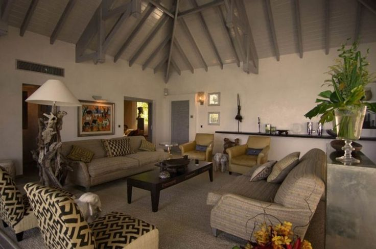 Decoration: Awesome Le Reve St Martin Beach House Living Room Featuring Comfy Cream Fabric Sofa Set Plus Yellow Leather Armchair On Cream Rugs Plus Awesome Wooden Ceiling Design: Cozy Beach House For Vacation Places Idea