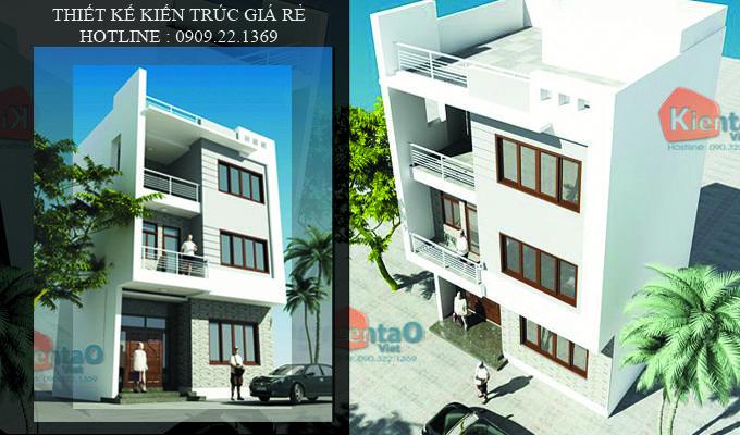 Phối cảnh 01 mẫu thiết kế kiến trúc nhà ống 3 tầng 48m2, thiết kế nhà ống 48m2 đẹp hiện đại, thiết kế kiến trúc