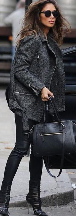 Nicole Scherzinger: Coat – AllSaints  Purse – Milli Millu