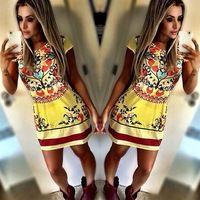 2015 nuove donne celebrità vestito da partito sexy manica corta vestito stampa floreale aderente mini vestito vestito casuale vestidos de fiesta