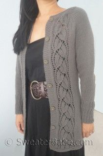 Just released - #153 Simply SweaterBabe Top-Down Cardigan PDF Knitting Pattern #knitting #SweaterBabe.com