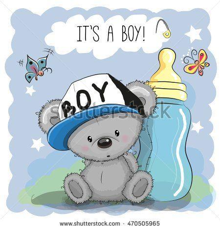 Cute Cartoon Teddy bear boy with feeding bottle ( make baby card)