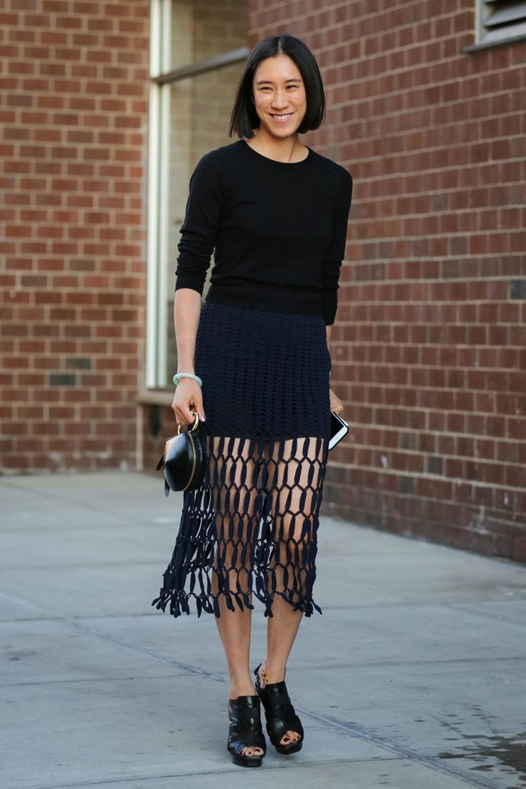 The Most Authentically Inspiring Street Style From New York #refinery29  http://www.refinery29.com/2015/09/93788/ny-fashion-week-spring-2016-street-style-pictures#slide-143  Eva Chen in a very Instagram-worthy skirt....