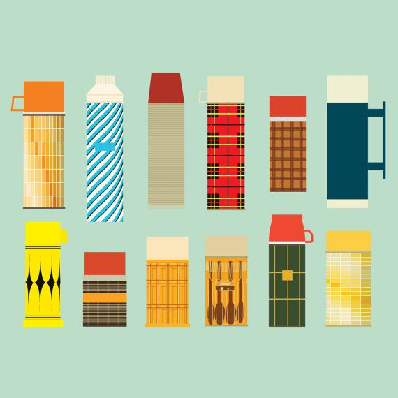 Vintage Thermos Collection  Illustration Print by NeatoNectarine, $15.00