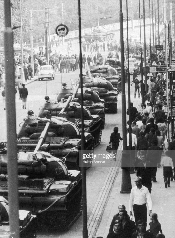 1968: Soviet T62 main battle tanks line up in the streets of Prague after…