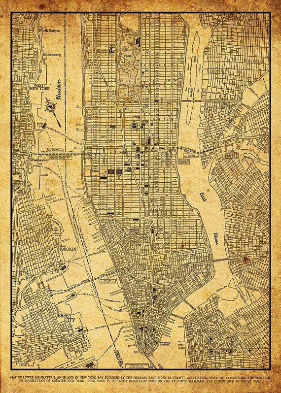 New York City Map 1944 New York City Manhattan Street Map Vintage 13x19 Sepia Grunge Print Poster